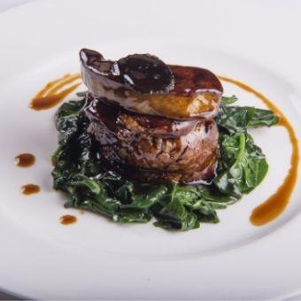 Scaloppa di foie gras al marsala con spinaci sauté